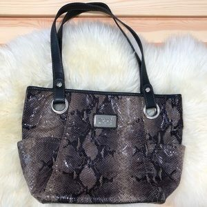 Relic Faux Snakeskin Shoulder Bag Neutral Browns